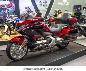 Bangkok, Thailand - August 22, 2018: Honda Gold Wing Tour touring motorcycle presented in Big Motor Sale 2018