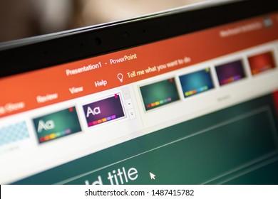 Bangkok, Thailand - August 22, 2019 : Microsoft PowerPoint, a presentation program developed by Microsoft, on computer screen.