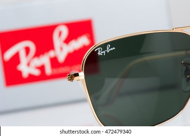 BANGKOK, THAILAND - AUGUST 23, 2016: The Ray-Ban Caravan with gold frame and classic G-15 Lens. Ray-Ban is a brand of sunglasses and eyeglasses founded in 1937 by American company Bausch & Lomb.