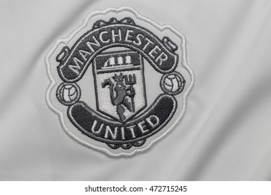 BANGKOK, THAILAND -AUGUST 23, 2016:: the logo of the Manchester United football club on an official jersey on August 23, 2016 in Bangkok Thailand.