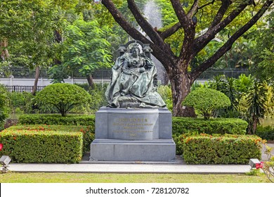 BANGKOK, THAILAND - August 23, 2017: Statue of Queen Victoria in the garden at the British Embassy