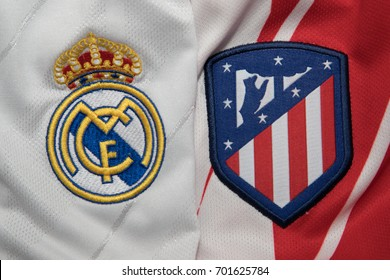 BANGKOK, THAILAND - AUGUST 23: the logo of Real Madrid, Barcelona and Atletico Madrid on Football Jersey on August 23,2017