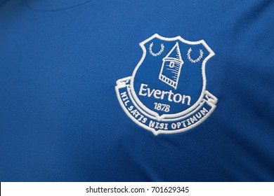 BANGKOK, THAILAND - AUGUST 23: the logo of Everton on Football Jersey on August 23,2017