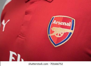 BANGKOK, THAILAND - AUGUST 23: the logo on Arsenal Football Jersey on August 22,2017