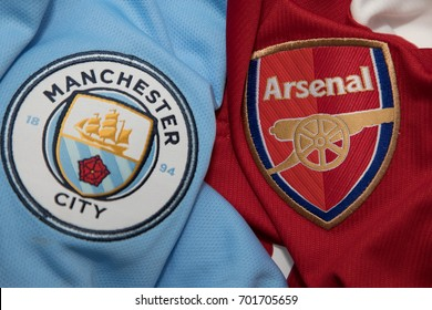 BANGKOK, THAILAND - AUGUST 23: the logo of  Arsenak and Everton on Football Jersey on August 23,2017