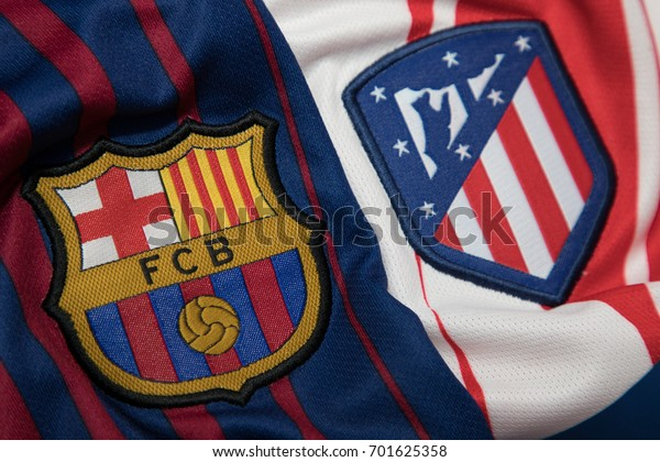 BANGKOK, THAILAND - AUGUST 23: the logo of Real Madrid, Barcelona and Atletico Madrid logo on Football Jersey on August 23,2017