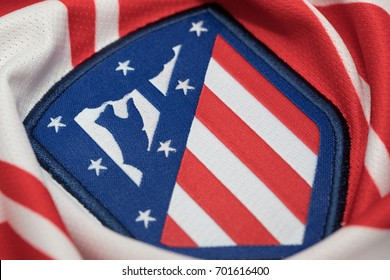 BANGKOK, THAILAND - AUGUST 23: the new Atletico Madrid Logo on Football Jersey on August 23,2017