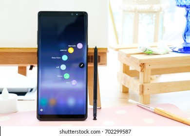 BANGKOK, THAILAND - AUGUST 23: Samsung Galaxy Note 8 with S Pen on the desk on August 23, 2017 in Bangkok, Thailand