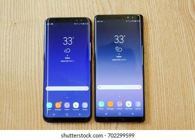 BANGKOK, THAILAND - AUGUST 23: Samsung Galaxy Note 8 and S8+ comparison on August 23, 2017 in Bangkok, Thailand
