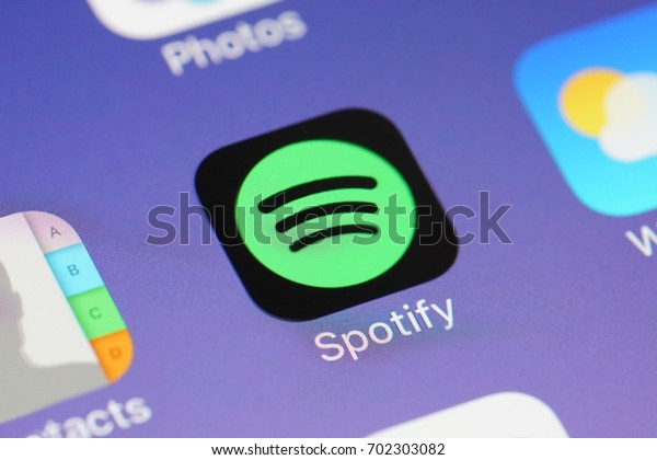 BANGKOK, THAILAND- AUGUST 24: Spotify Music Application Icon on Iphone Screen on August 24,2017