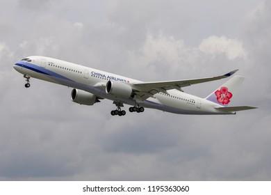 BANGKOK, THAILAND - AUGUST 25, 2018: China Airlines Airbus A350-900XWB take-off from Suvarnabhumi Airport to Taipei