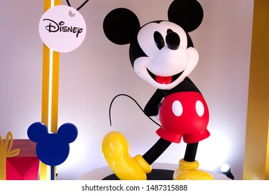 Bangkok Thailand - August 25 2019 : Mickey Mouse figure for Celebration of Mickey Mouse'90th Anniversary at KING POWER MAHANAKHON Sathorn Road