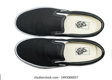 BANGKOK, THAILAND - AUGUST 25 2019 : View of Vans black slip on shoes   on August 25,2019