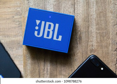 Bangkok, Thailand, August 26, 2018:JBL bluetooth speaker Test connection to iphone 7+