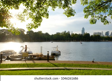 BANGKOK THAILAND - August 27, 2016 : View of Benjakitti Park. City park in Bangkok next to the Queen Sirikit National Convention Center.