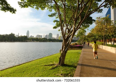 BANGKOK THAILAND - August 27, 2016 : Cityscape view of Benjakitti Park. Benjakitti Park is situated next to the Queen Sirikit National Convention Center.