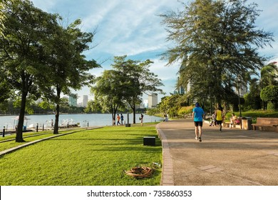 BANGKOK THAILAND - August 27, 2016 : View of Benjakitti Park. Benjakitti Park is situated next to the Queen Sirikit National Convention Center.