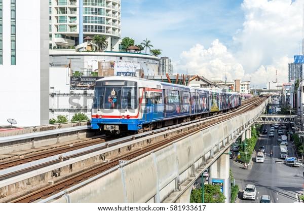 Bangkok, Thailand - August 27, 2016 : BTS skytrain train runs in Bangkok. Many people in Bangkok used skytrain to save time.
