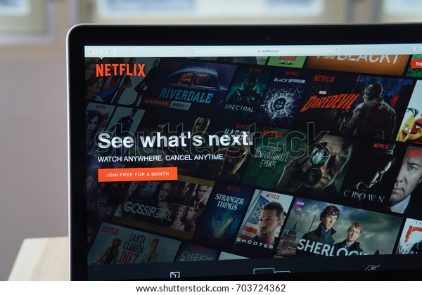 Bangkok, Thailand - August 27, 2017 : Netflix app on Laptop screen. Netflix is an international leading subscription service for watching TV episodes and movies.