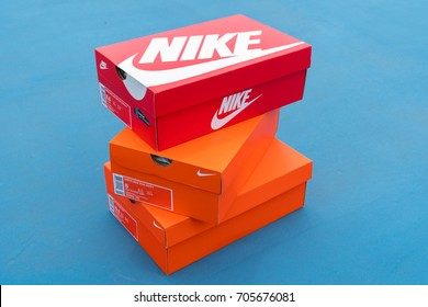 BANGKOK, THAILAND - AUGUST 27, 2017:Nike box of shoes on court,Nike,Inc. is an American multinational corporation that designs, develops, manufactures and sells footwear and other items