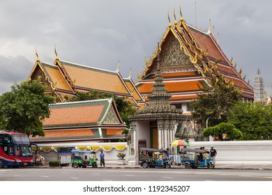 Bangkok, Thailand - August 27, 2018: Wat Pho in Bangkok, Thailand. It is one of the oldest temple complexes in Bangkok and houses the famous Reclining Buddha.