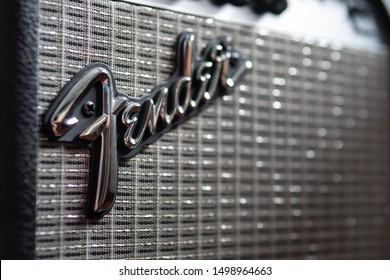 Bangkok, Thailand - August 27, 2019 : A Fender guitar brand logo on guitar amplifier.