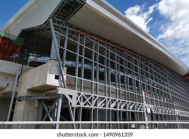BANGKOK, THAILAND - AUGUST 28, 2019: Large metallic structure under construction on the site of Bangsue Grand Station on August 28, 2019 in Bangkok, Thailand.