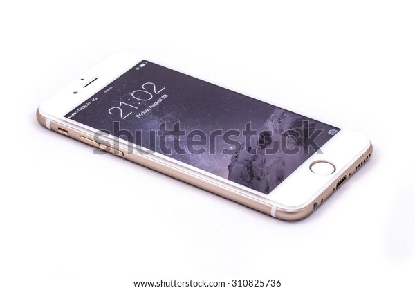 BANGKOK, THAILAND - AUGUST 28: iPhone 6 with lock screen on August 28, 2015 on Bangkok, Thailand. This iPhone cover by glass film and isolated with white background.