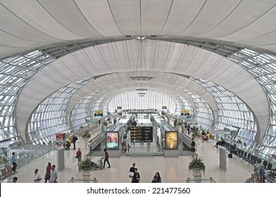 BANGKOK, THAILAND - AUGUST 28: Suvarnabhumi International Airport, the largest airport in Thailand on August 28, 2014.
