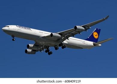 BANGKOK, THAILAND - AUGUST 29, 2015:Lufthansa Airbus A340-300 on final Suvarnabhumi airport