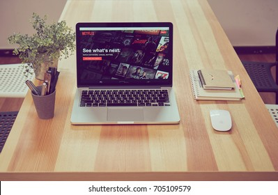 Bangkok, Thailand - August 29, 2017 : Netflix app on Laptop screen. Netflix is an international leading subscription service for watching TV episodes and movies.