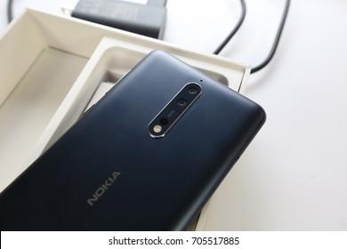 Bangkok , Thailand - August 29, 2017 - Nokia8 smartphone new brand of Nokia.