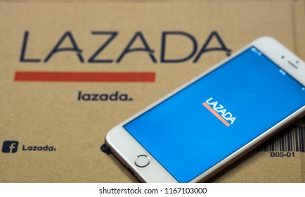 Bangkok. Thailand. August 29, 2018: iphone 6 on Open on the phone is the lazada application web shop is one of Asia.