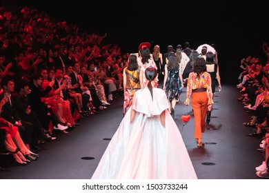 Bangkok, Thailand - August 29, 2019: Models walk on runway during 25x25 Presented by CentralWorld Show on ELLE Fashion Week FW 2019, show by 25 leading brands to celebrate 25th anniversary of ELLE Mag