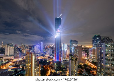 Bangkok, Thailand - August 29,2016 : Light and sound show on Mahanakhon building,Mahanakhon building is tallest building in Bangkok,Thailand.