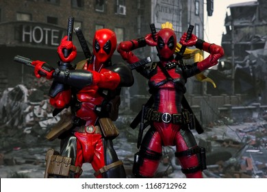 Bangkok, Thailand - August 29,2018: The setting of Deadpool and Ladypool, action figures display from famous Marvel comic.