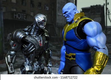 Bangkok, Thailand - August 29,2018: Ultron and Thanos, action figures display from famous Marvel comic.