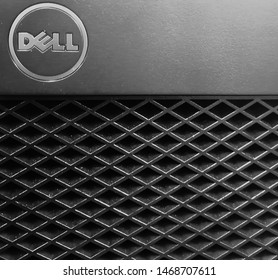 Bangkok, Thailand - August 3, 2019 : Dell logo on one CPU in the classroom