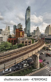 Bangkok, Thailand: August 30, 2016 - MahaNakhon Building and BTS Skytrain at Silom Road, Bangkok, Thailand