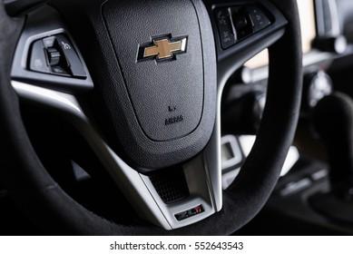 BANGKOK, THAILAND AUGUST 30, 2016 : Closeup of Chevrolet logo on steering wheel of Chevrolet Camaro ZL1 2015 model