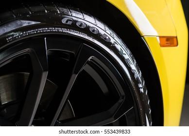 BANGKOK, THAILAND - AUGUST 30, 2016 : Goodyear tires installed in Chevrolet camaro ZL1 2015 model