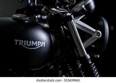 BANGKOK, THAILAND - AUGUST 30, 2016 : Triumph Street Twin 2016 model. New 900 CC. engine with acclaimed high torque