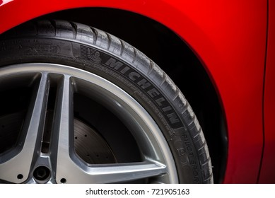 BANGKOK, THAILAND – AUGUST, 30 2017: Michelin tire installed in red Mercedes Benz CLA 250 2017 model