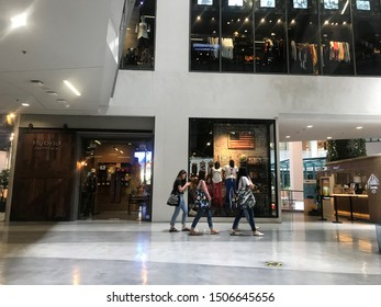 Bangkok / Thailand - August 30 2019: selective focus women teenagers go shopping in Siam Square One