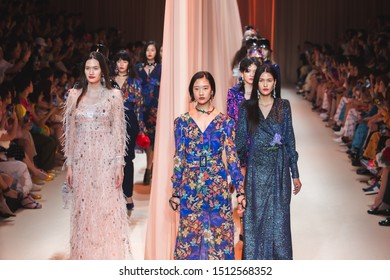 Bangkok, Thailand - August 30, 2019: Models walk on runway during Kloset collection Autumn/Winter 2019 Show on ELLE Fashion Week Fall/Winter 2019 at CentralWorld.
