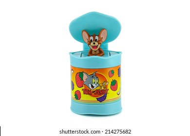 Bangkok, Thailand - August 31, 2014 : Jerry in a blue bin toy character American animated series. There are toy sold as part of McDonald Happy Meal toy.