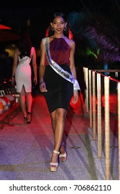 """Bangkok, Thailand - August 31, 2017 ; Miss Pageant Contest """"Miss Supranational Thailand 2017"""", Fashion Show Pool Party at B-Lay Tong Hotel for relaxation"""