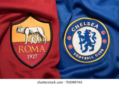 BANGKOK THAILAND - AUGUST 31: the logo of A.S. Roma and  Chelsea on  Football Jersey on August 31,2017