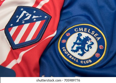 BANGKOK THAILAND - AUGUST 31: the logo ofAtletico Madrid and  Chelsea on  Football Jersey on August 31,2017