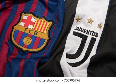 BANGKOK THAILAND - AUGUST 31: the logo of Barcelona and  Juventus on  Football Jersey on August 31,2017
